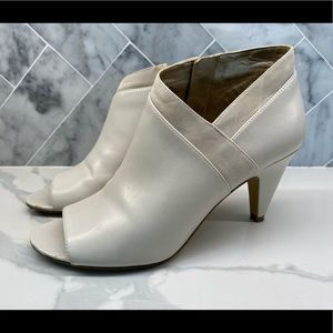 Leather booties light cream color